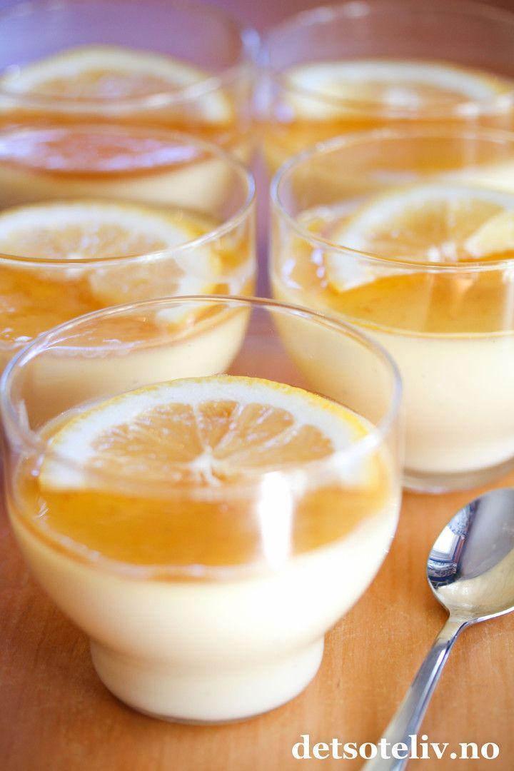 Panna cotta med sitron og vanilje | Det søte liv