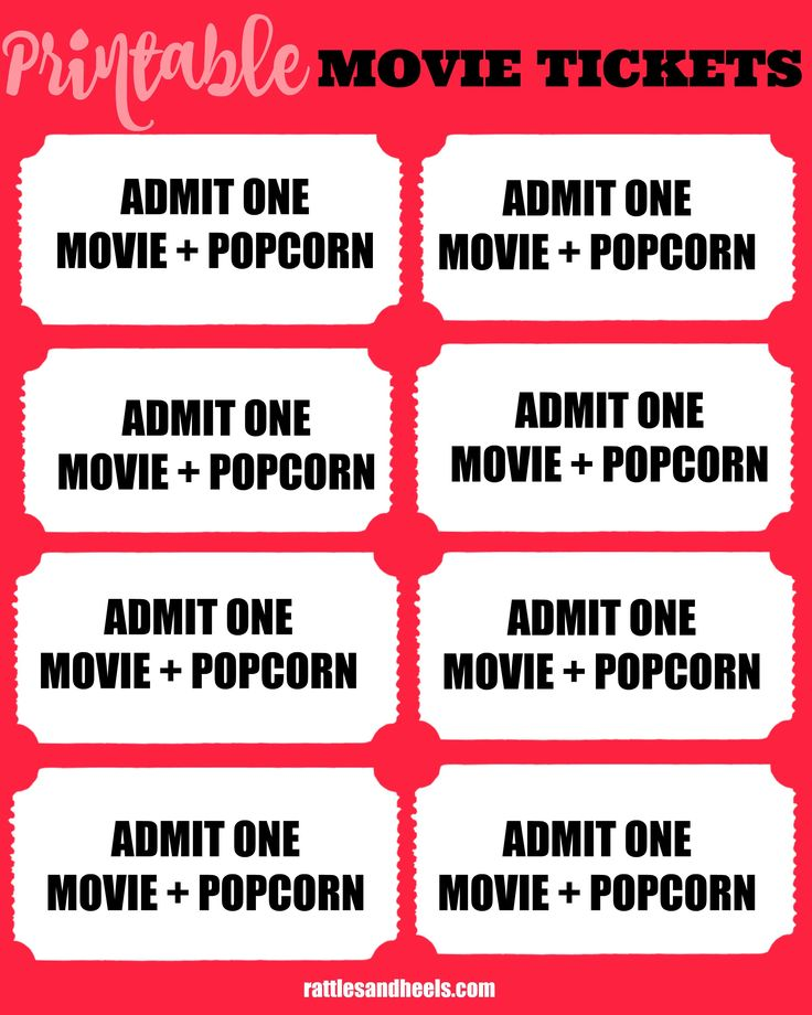 These Printable Movie tickets are perfect for a fun family movie night.