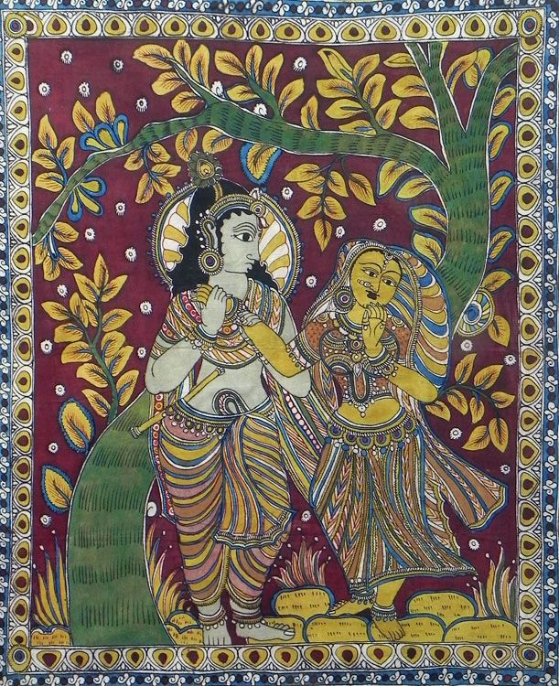 Krishna Adoring Radha (Kalamkari Paintings on Cotton - Unframed))