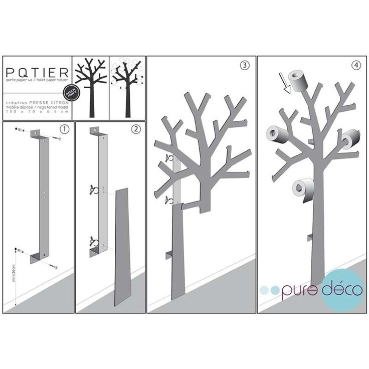 Arbre papier toilette pqtier gris deco design and wc design - Deco wc modern ...