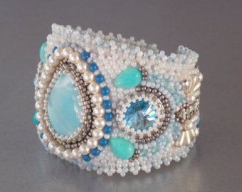 Check out Summer sale 15% Free Shipping , Bead Embroidery, Bracelet, Statement cuff, Seed bead bracelet, Silver, Blue, White, Larimar gemstone, on vicus