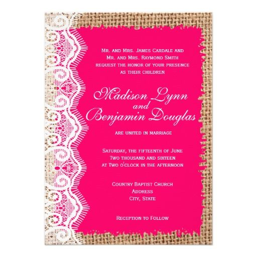 Rustic Burlap Lace Hot Pink Fuchsia Wedding Invitations for a vintage country style wedding.  Choose rounded or square corners.  Choose basic or premium textured paper.  40% OFF when you order 100+ invitations.