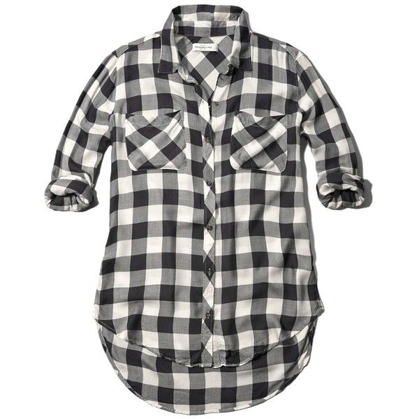 Abercrombie & Fitch Relaxed Plaid Shirt ($35) ❤ liked on Polyvore featuring tops, shirts, plaid, black and white checkered, black and white shirt, slouchy shirt, plaid top, shirts & tops and tartan plaid shirt