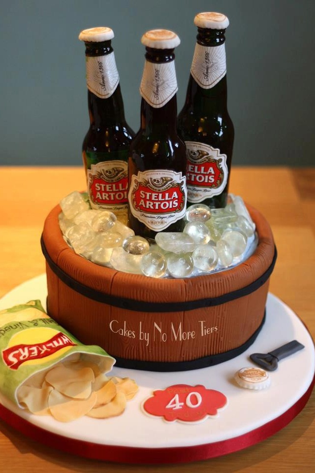 """BEER CAKE!!! Yea Baby!!! FINALLY...2 words I can stand seeing put together! So much better than the ubiquitous """"diaper cake"""". I wish no one had ever put those 2 words together('cause I always just get an unappetizing, totally wr0ng, image in my head, every time I see it. LOL!) ;-D"""