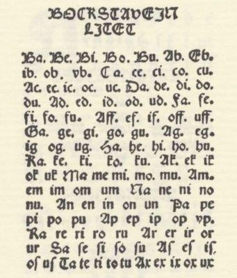 Abc-kirian tavutaulu, jonka pohjalta voi ideoida esim. vanhoja kirjaimia sisältävän kuvistyön.