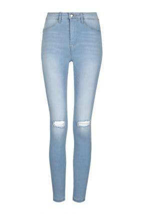 Jeans Skinny Vita Alta Blu Chiaro Push-Up