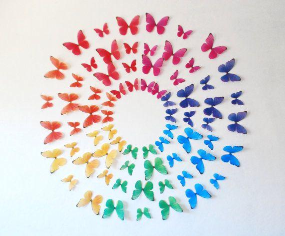 3D Rainbow Wall Butterflies Set of 70 by HeidisHubbub on Etsy