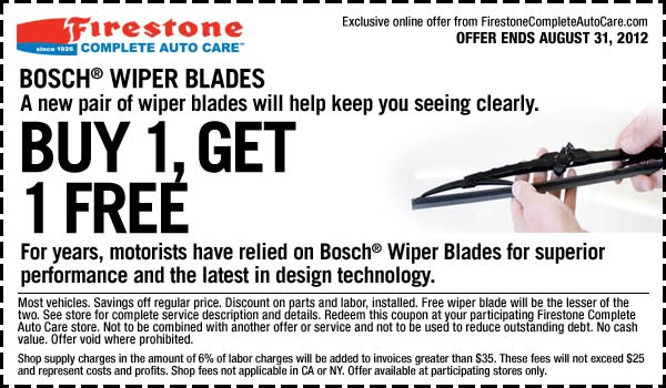 Wipers Blades - Buy One, Get One Free In-store Printable Firestone Coupon