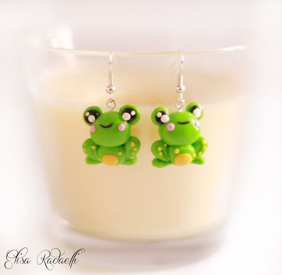 JUMPY frog earrings - polymer clay on Etsy, $11.19