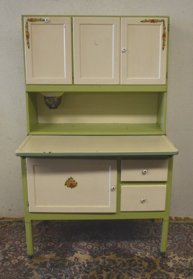 Antique 1920s Hoosier Cabinet With Flour Sifter Porcelain