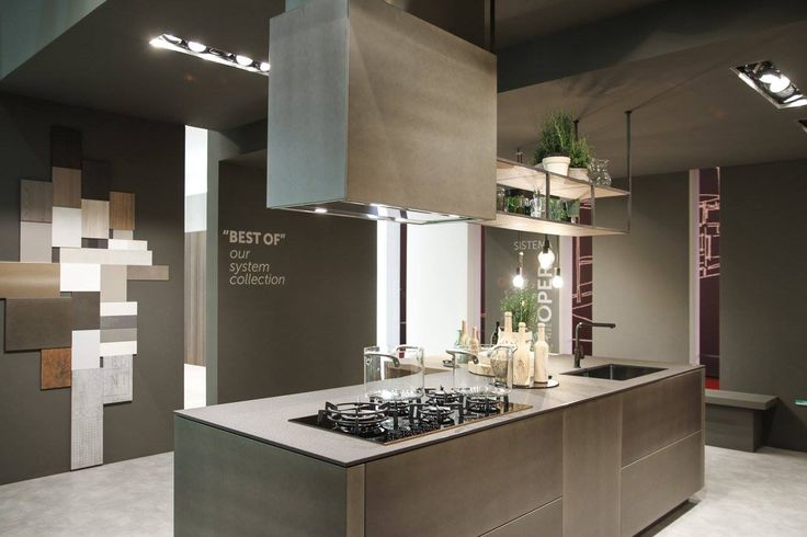#Kitchen Opera, presented at #Eurocucina #Isaloni 2016 with metal town coated aluminum doors.