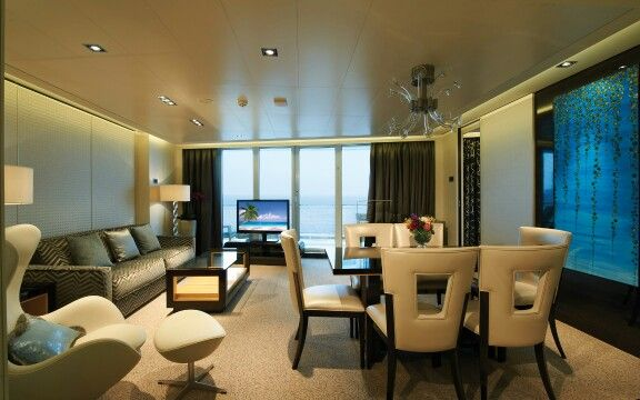 Shorter sofabed in the suite of the Breackawy, Norwegean Cruise Line.  Milano Bedding http://www.milanobedding.it/