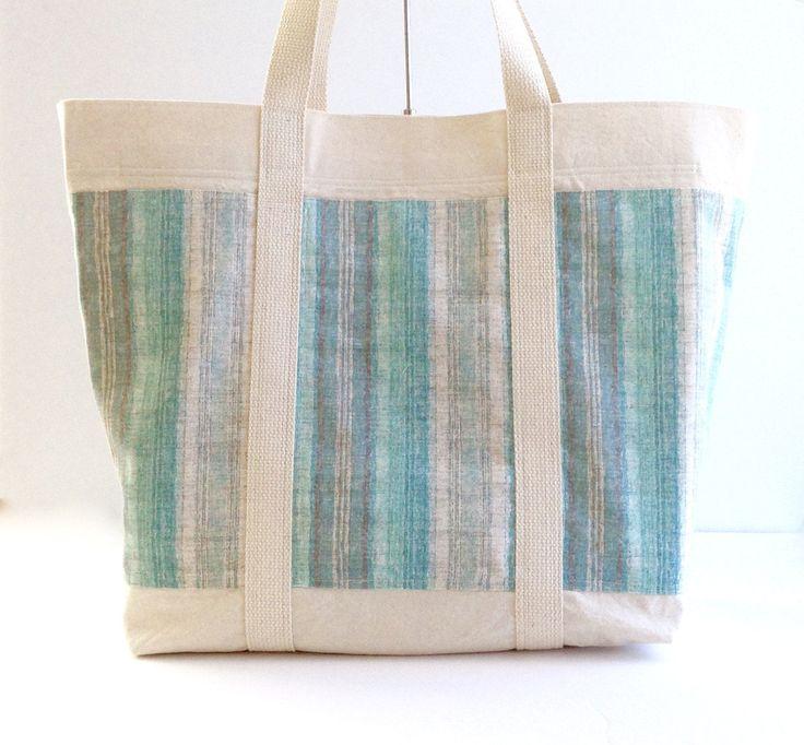 Aqua Beige Beach Bag, Canvas Bag Aqua Stripes , Canvas Beach Tote, Natural Color Canvas Beach Bag Beach Tote, Pool Bag, Lightweight Bag by SewManyWonders on Etsy