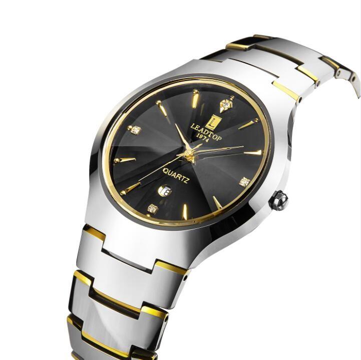 Silver tungsten steel luxury shiny quartz wrist watches mens watches on sale