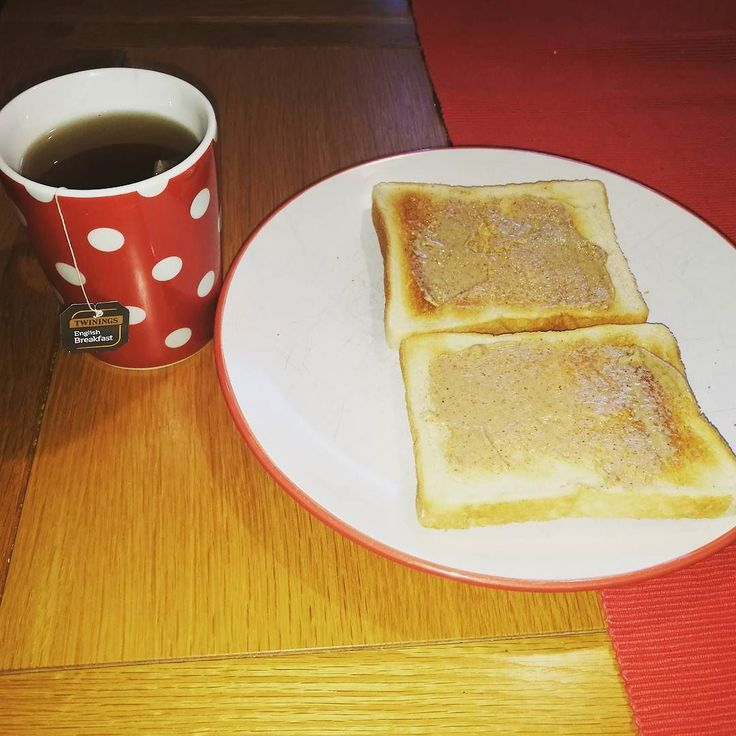Breakfast time! Peanut butter on toast with a cup of #twinings English breakfast tea #afternoontees #adrinkaday