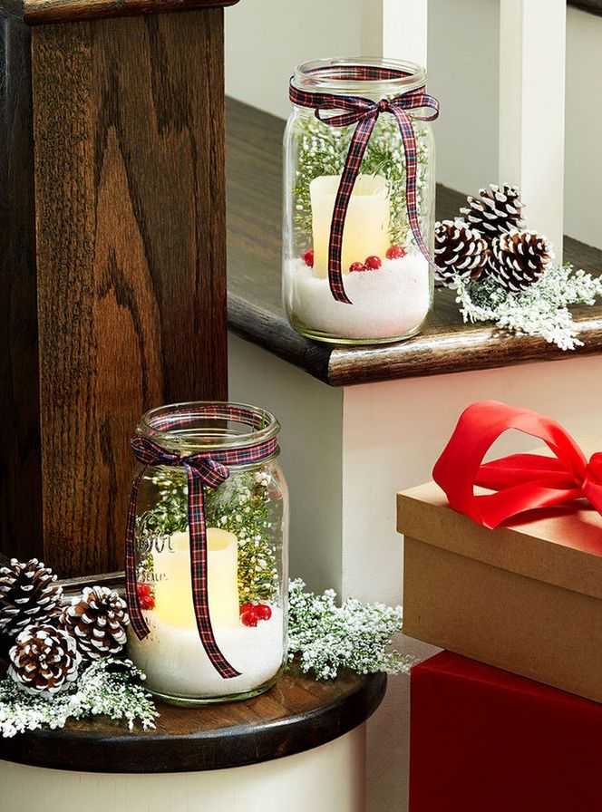 These easy to make Natural Christmas Mason Jars are perfect for holiday decor or gift giving