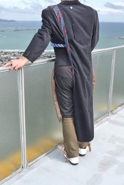 Avant Garde Men's Tail Coat ... Eaton Pants with woolen legs and buckles from another pair of trousers ... finished off with ties as seen at Melbourne Fashion Week for the Indigenous Runway Project 2016