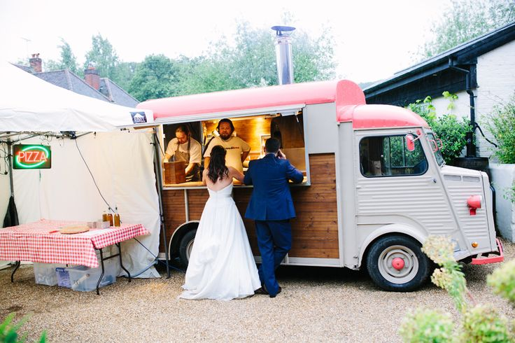 Pizza Van for an evening buffet -   Image by Hayley Savage - Classic Wedding At Gate Street Barn Surrey With Bride In Naomi Neoh Gown With A Pastel Colour Scheme Catering By Kalm Kitchen And Images From Hayley Savage Photography
