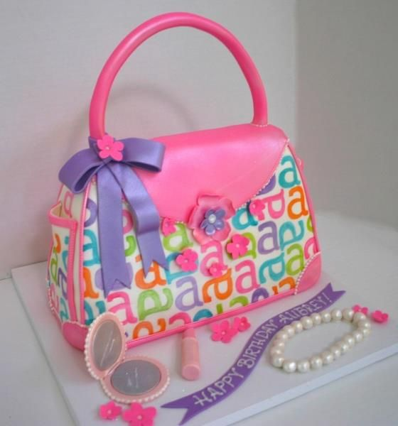 Purse Cake- I like the letter idea on this one