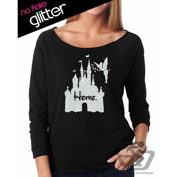 Glitter Disney Is My Home 3/4 Length Lightweight Sweatshirt Disneyland... ($24) ❤ liked on Polyvore featuring tops, hoodies, sweatshirts, dark olive, tanks, women's clothing, slouchy shirt, military green shirt, glitter shirts and off shoulder tops