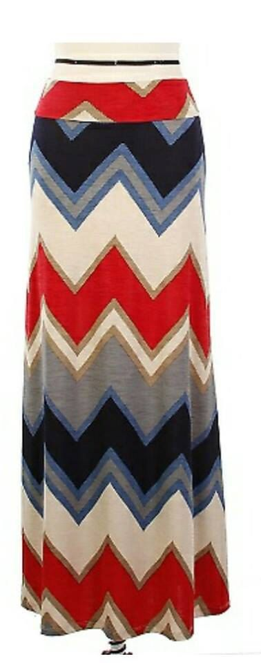 Red Chevron Maxi Skirt