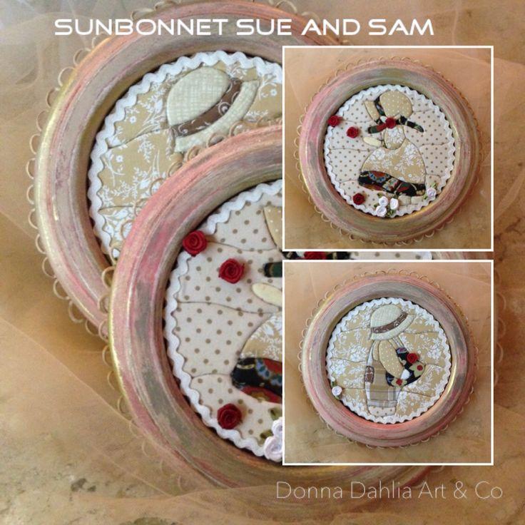 Patchwork embutido com molduras envelhecidas.  Desenhos inspirados nos bonecos ingleses Sunbonnet Sue e Sam.