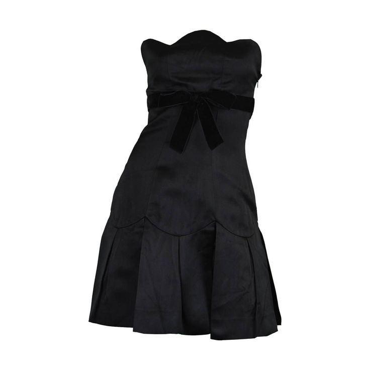 Chanel A/W 1990 Strapless Silk Little Black Dress with Scalloped Bust | From a collection of rare vintage evening dresses and gowns at https://www.1stdibs.com/fashion/clothing/evening-dresses/