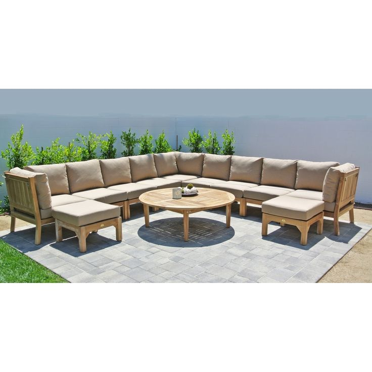 12pc Huntington Teak Outdoor Patio Furniture Sectional Seating Group With  52 Chat Table. (Iris), Purple, Size 12 Piece Sets