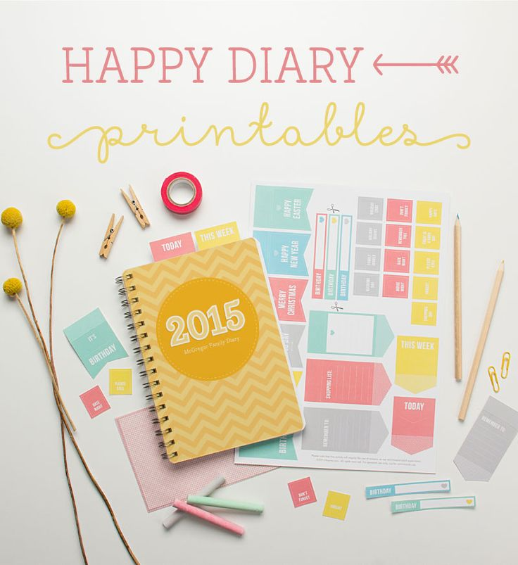 #Papercraft #Calendar | #Planner- #Papercrafting - 'Happy' FREE Diary #Printables from tinyme