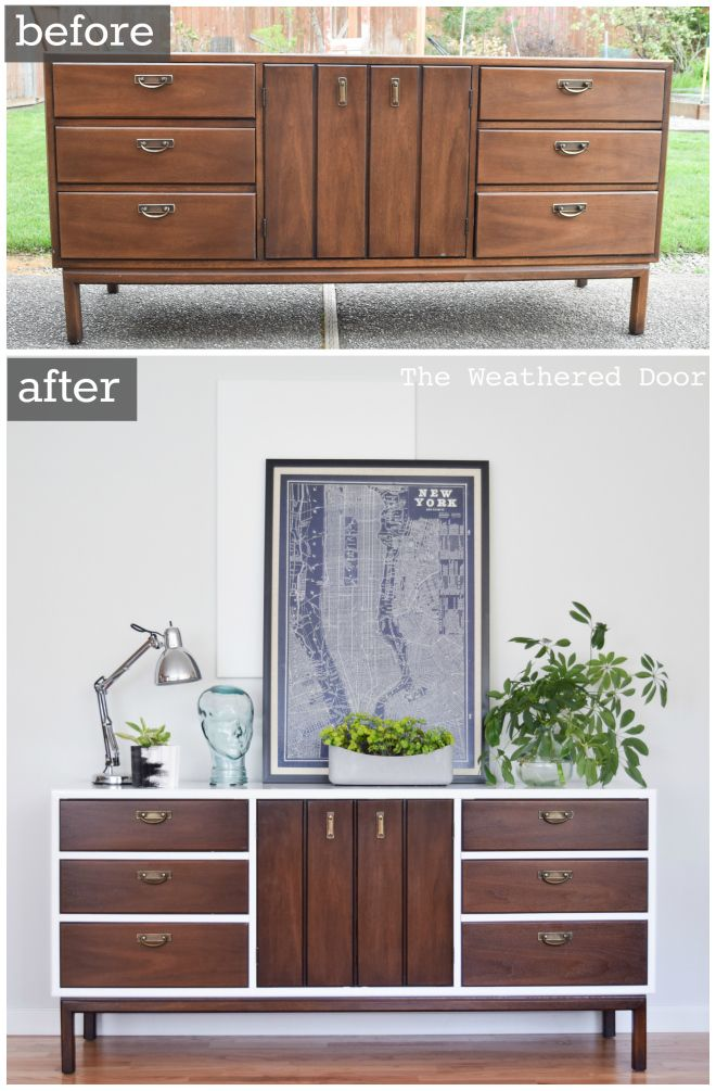 Find This Pin And More On Painted Mid Century Inspiration Dresser Before After