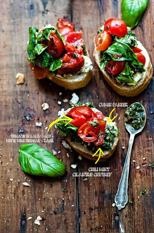 paneer bruschetta from Box of Spice blog- sounds soooo appetizing and I've never made my own paneer before!