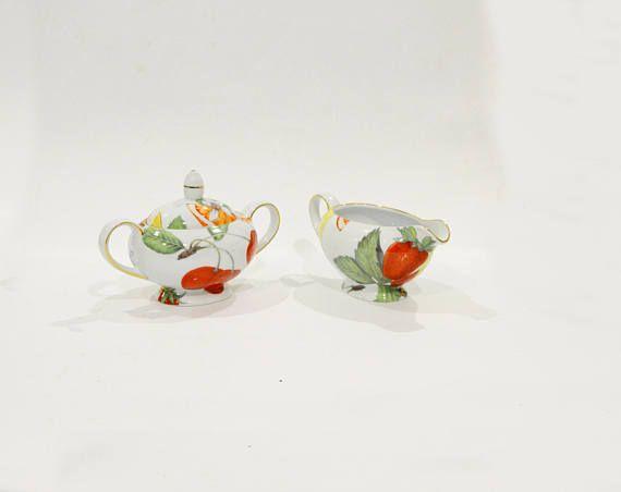 English porcelain Sugar Bowl and Creamer set Vintage sugar