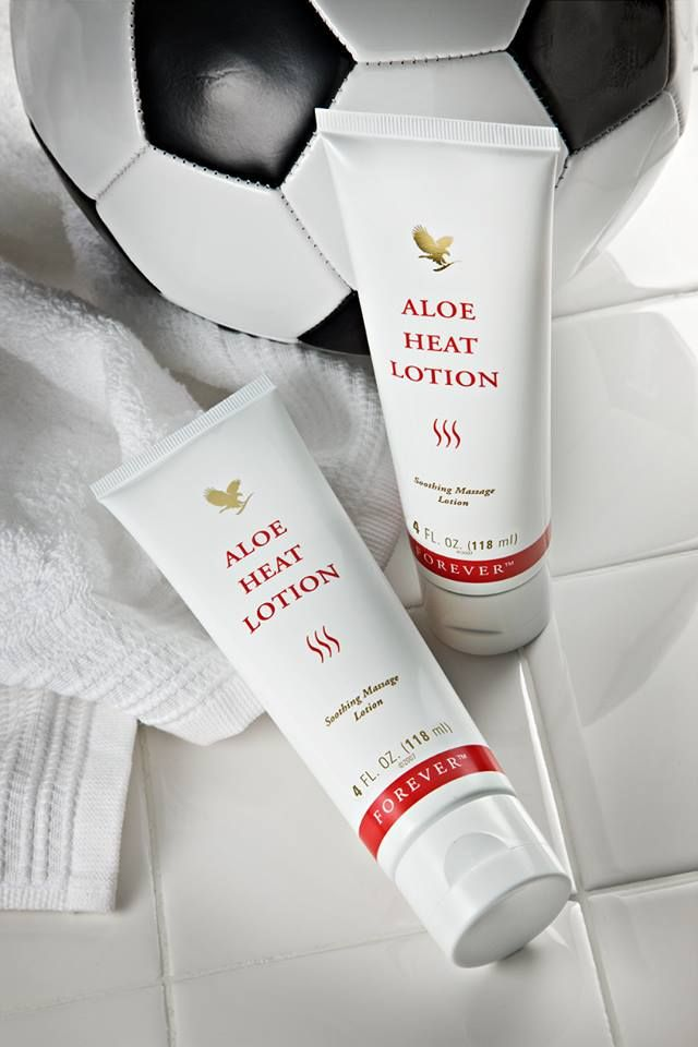 Don't let sore muscles keep you from playing the game! Use Aloe Heat Lotion to keep muscles relaxed and ready to rock. www.forever-first.com