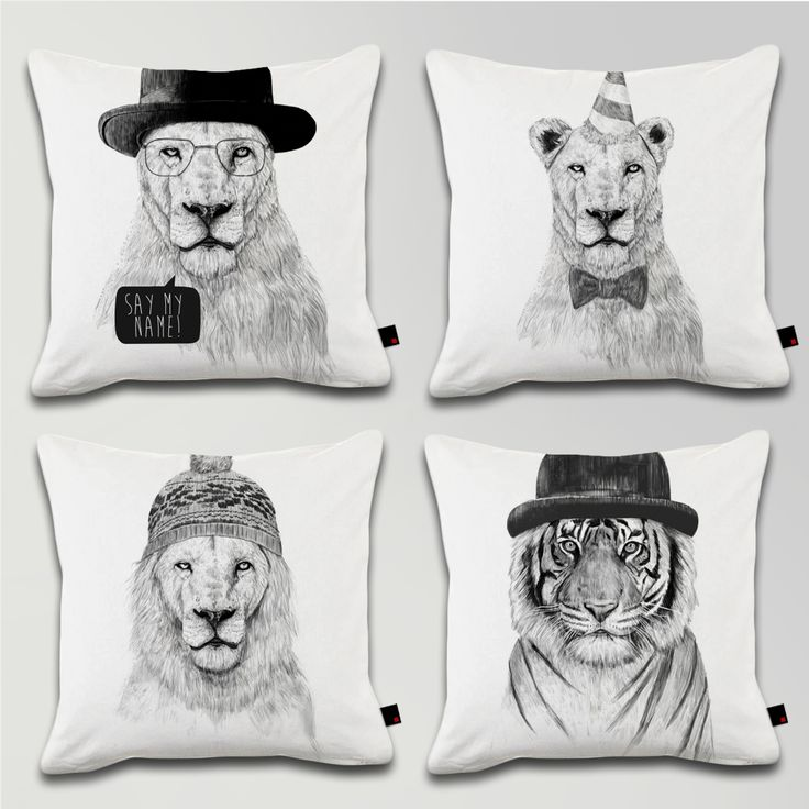 CUSHION FELINE SET - Say my name, Get the party started, Winter is coming, Welcome to the jungle / Designed by Balazs Solti / Made by OneRevolt.com / #쿠션 #원리볼트 #인테리어 #홈데코 #사자 #호랑이 #lion #tiger #design #cushion