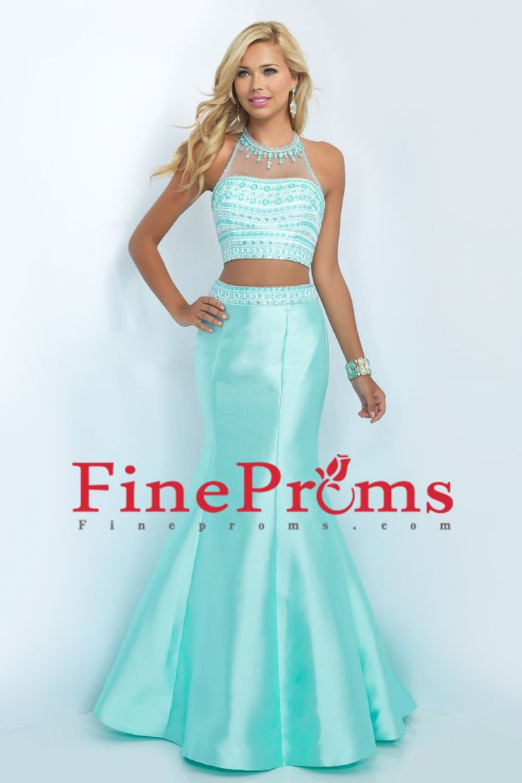 2016 Halter Two Pieces Beaded Bodice Open Back Prom Dresses Mermaid Satin