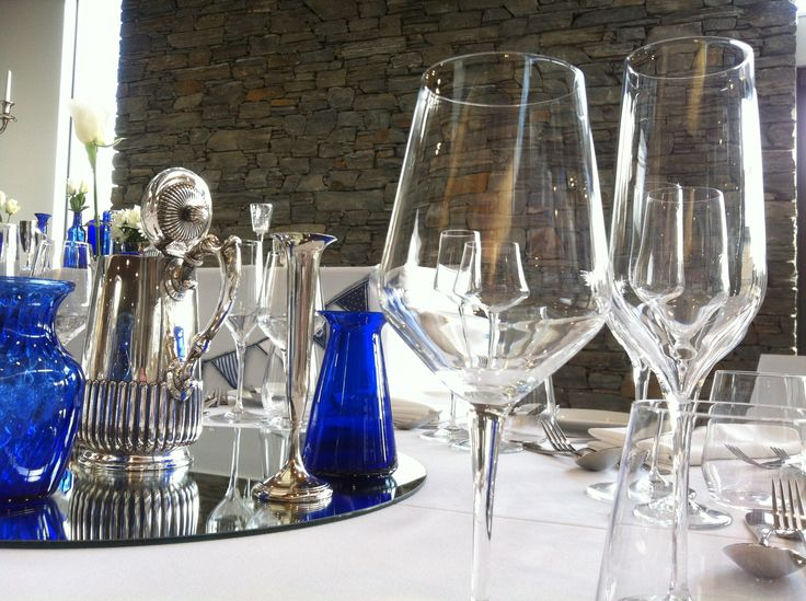 Silver and blue Wedding set up by @BlueHuttDesign at Peak Functions, Wanaka.