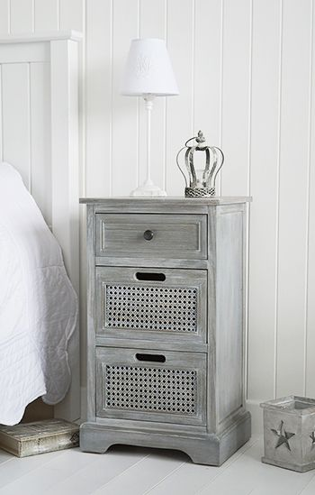 British Colonial furniture - Grey bedside table with drawers. bedside tables in Shabby Chic,Coastal, French,Scandi, danish and New England styles from The White Lighthouse