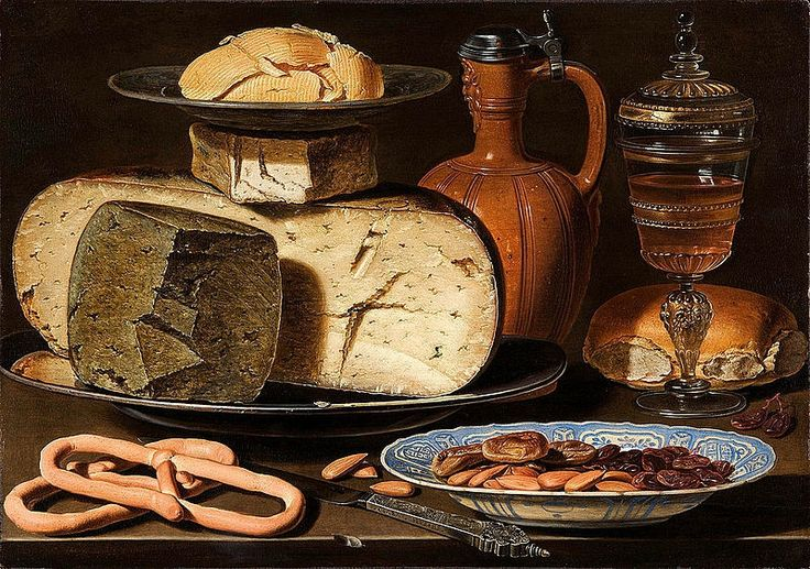 Clara Peeters, Still life with cheese, bread and drinking vessels, 1615. Oil on pane