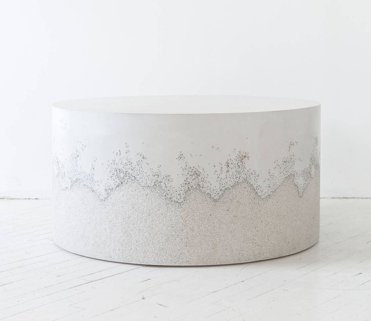 White Cement And Crystal Quartz Drum Coffee Table