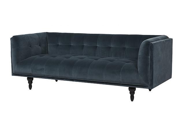 GlobeWest - Bogart Quilted 3 Seater Sofa - Petrol Velvet
