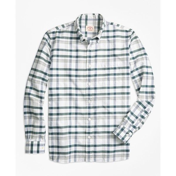 Brooks Brothers Plaid Oxford Cotton Sport Shirt ($60) ❤ liked on Polyvore featuring men's fashion, men's clothing, men's shirts, men's casual shirts, mens slim fit plaid shirts, mens plaid shirts, mens red plaid shirt and mens patterned shirts