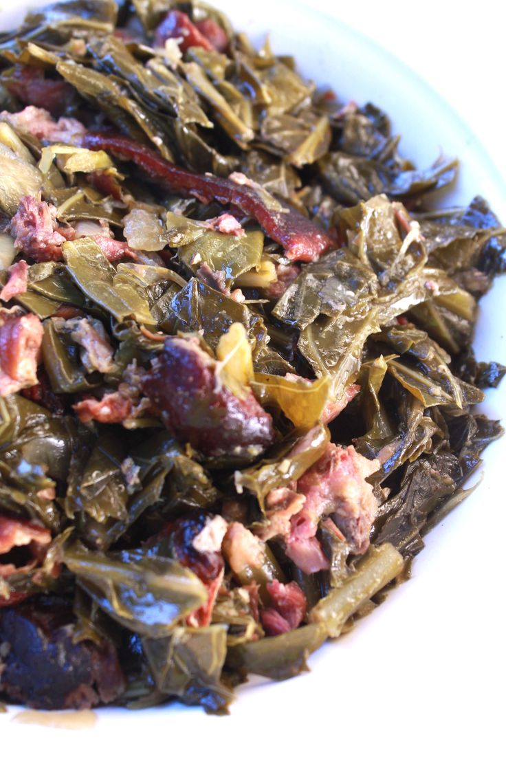Tender slow cooked soul food style collard greens and smoked ham hocks recipe. I just love greens! Seriously I do. It's hard to believe that there was a time that I didn't care much for…
