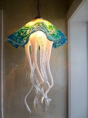 Hand Blown Glass Chandelier Jellyfish Chandelier Jellyfish Light Turquoise | eBay