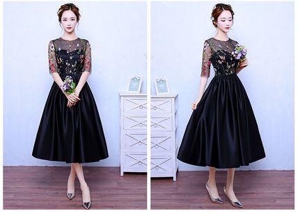 ワンピース エレガント♪  フラワー 刺繍 シースルー ドレス ワンピース(7)
