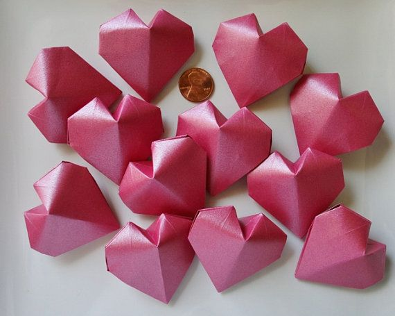 24 Origami Hearts 3d And Whitehandmadeding Favoridal