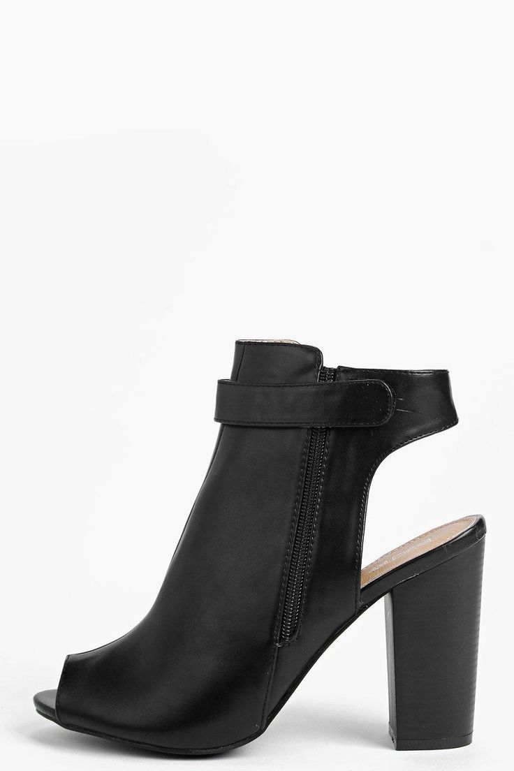 Rosie Peeptoe Open Back Heeled Shoe Boot 420kr Boohoo