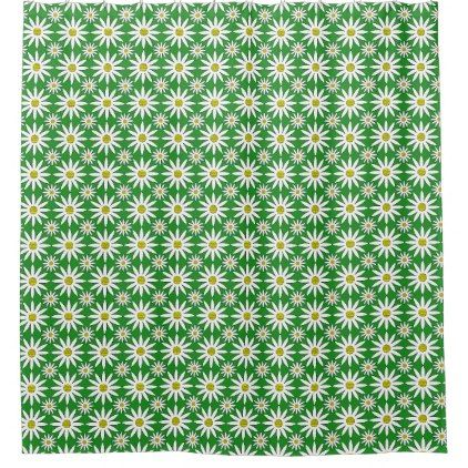 Dynamic Daisies Green Shower Curtain - shower gifts diy customize creative