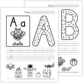 """Fichier PDF téléchargeable En noir et blanc seulement Version avec lettres minuscules et majuscules 30 pages Vous pouvez insérer cet abécédaire dans un duo-tang ou vous servir des fiches séparément. L'élève trouve les versions minuscule et majuscule de la lettre respective dans la grande lettre; il calligraphie la lettre sur les trottoirs et finalement, il encercle les dessins qui contiennent le son de la lettre. À noter qu'il y a 2 pages pour les lettres """"c, g et y"""" à choisir selon votre…"""