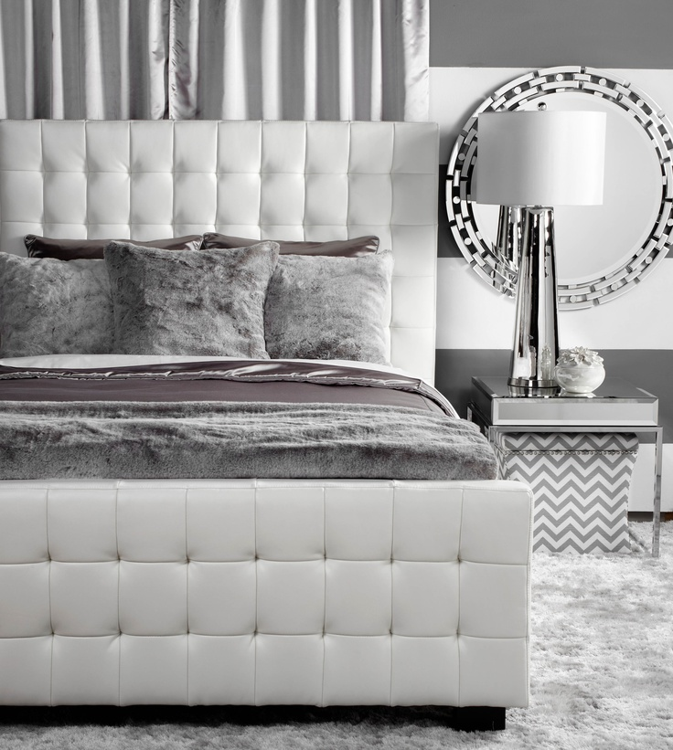 For a contemporary twist, use textured grey tones with shades of white and platinum.
