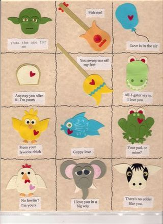 owl punch figure ideas with the possible card sentiments under each image